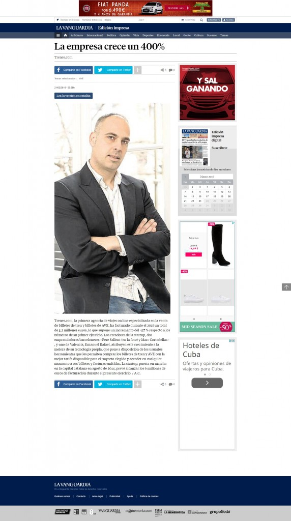 La Vanguardia también habla del éxito de Trenes.com