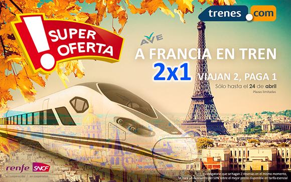 2x1 en los trenes AVE con destino París hasta el próximo 24 de abril